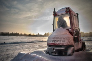 forklift in winter
