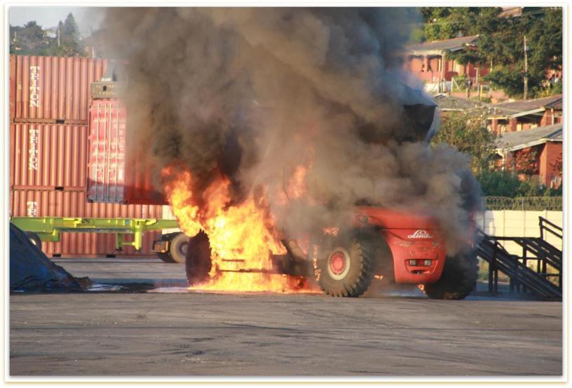 burning forklift